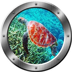 "Sea Turtle Wall Decal Porthole 3D Sticker Sea Life Wall Decor VWAQ-SP31 (20"" Diameter)"