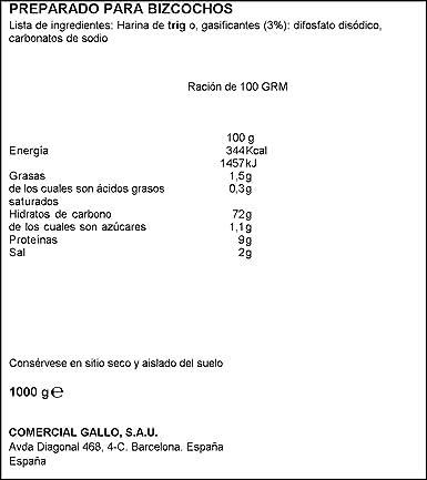 Gallo Harina Levadura - 1 Kg: Amazon.es: Alimentación y bebidas