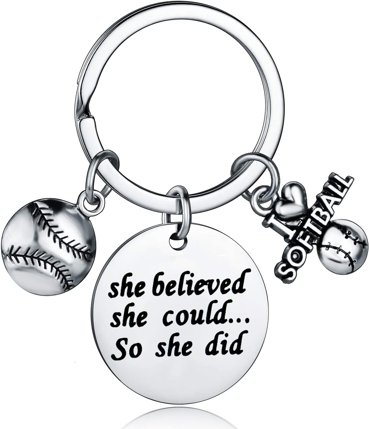 Play For Her Bag Clip Softball Player Gift Bag Charm Softball Team Gifts Sports Daughter Gift Keychain Clip Sports Bag Clip