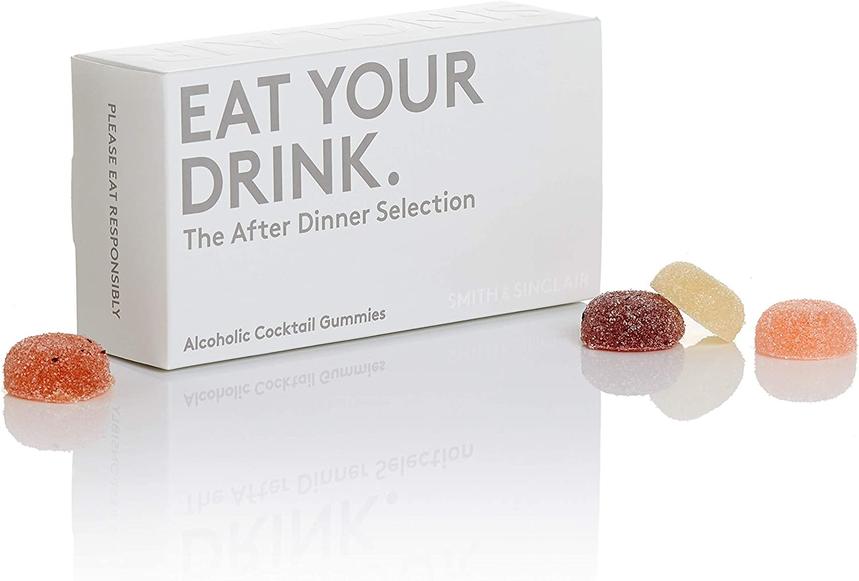 Smith & Sinclair Gominolas alcohólicas con sabor a cóctel, selección «The After Dinner» de amaretto, vodka y ginebra, caja de 8