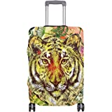 ALAZA Tropical Tiger Flower Luggage Cover Fits 18-32 Inch Suitcase Spandex Travel Protector