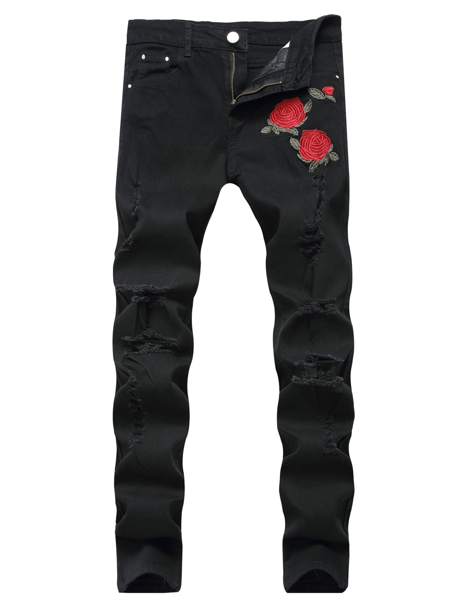 GARMOY Men's Fashion Light Blue Ripped Destroyed Flower Embroidered Skinny Fit Jeans Black 32