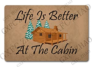 GXFC ZHAO Novelty GiftDoormats Life is Better at The Cabin(23.7 X 15.9 in) Anti-Slip Rubber Back Monogram Doormat for The Entrance Way Rugs Novelty Gift