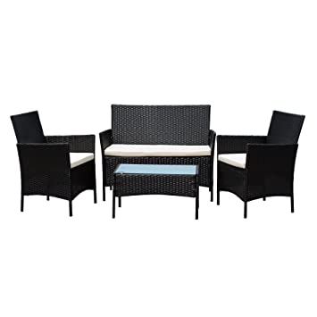 EBS Rattan Patio Garden Furniture Sets Patio Furniture Set Clearance Sale  Wicker White Cushioned Coffee Table. EBS Rattan Patio Garden Furniture Sets Patio Furniture Set