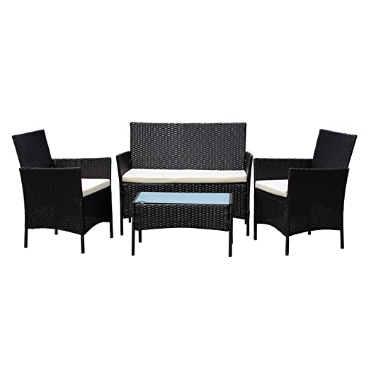 EBS Rattan Patio Garden Furniture Sets Patio Furniture Set Clearance Sale  Wicker White Cushioned Coffee Table