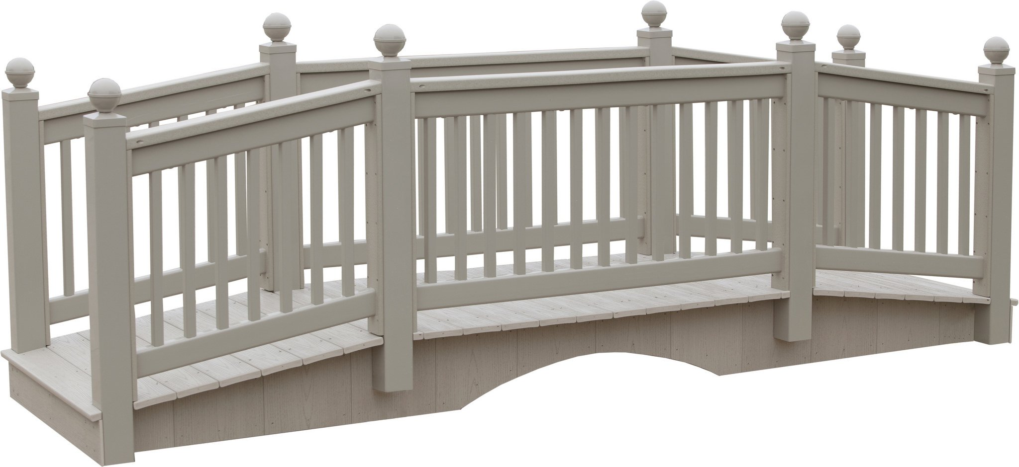 12 Foot Vinyl Outdoor Bridge with Gray Vekadeck Flooring - Clay - Amish Made in USA