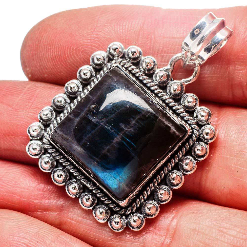 Vintage PD670952 Ana Silver Co Labradorite Pendant 1 1//2 - Handmade Jewelry 925 Sterling Silver Bohemian