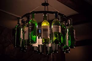 Wine Bottle Chandelier with Plug