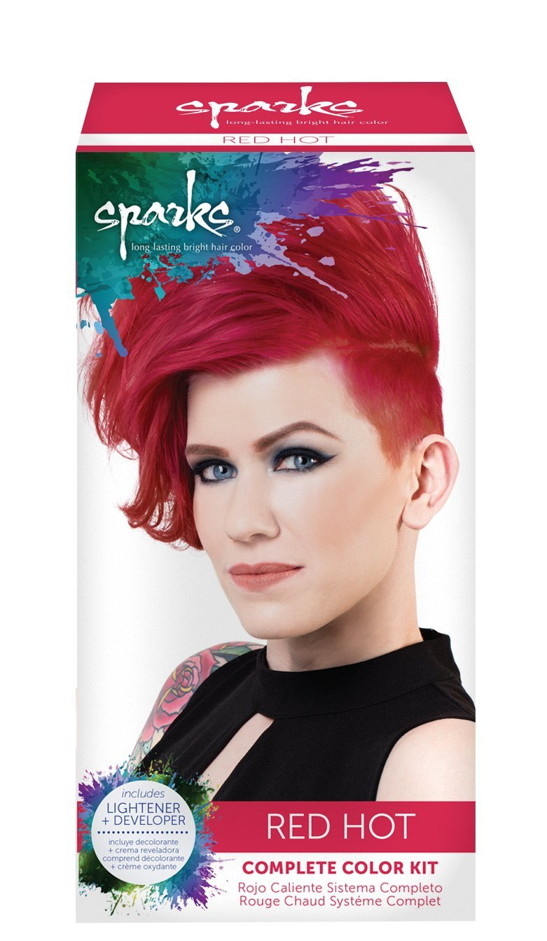 Amazon sparks long lasting bright hair color red hot 3 sparks complete color kit red hot nvjuhfo Gallery