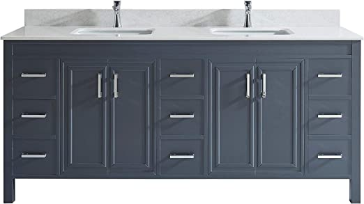 Amazon Com Corby 75 Inch Vanity Set In Pepper Gray Thin Diamond Quartz Top Kitchen Dining