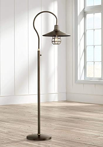 Garryton Industrial Floor Lamp Oiled Rubbed Bronze Metal Cage Barn Light Shade