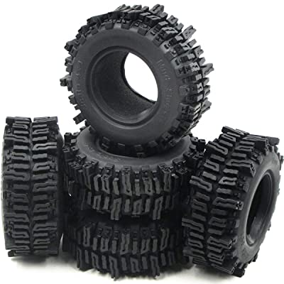 """5pcs RC 1.9"""" Mud Slingers Crawler Tires Height (OD): 93mm / 3.66inch Fit RC 1.9in Beadlock Wheels Rims Black: Clothing"""