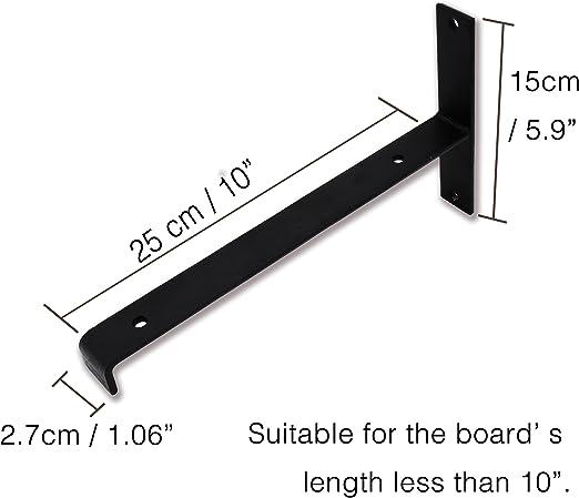 AddGrace Tipo L Soporte para Estante de Hierro Negro con /ángulo de Labio Montaje en Pared con Tornillos para Tabla de Madera