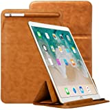 "iPad Pro 10.5 Case Sleeve Apple Pencil Holder TOOVREN Tri-fold Stand Ultra-Thin Leather PU Pouch Cover for Apple iPad Pro 10.5 inch 9.7 inch iPad Air / iPad Air 2 / Galaxy Tab S3/S2 9.7"" Brown"