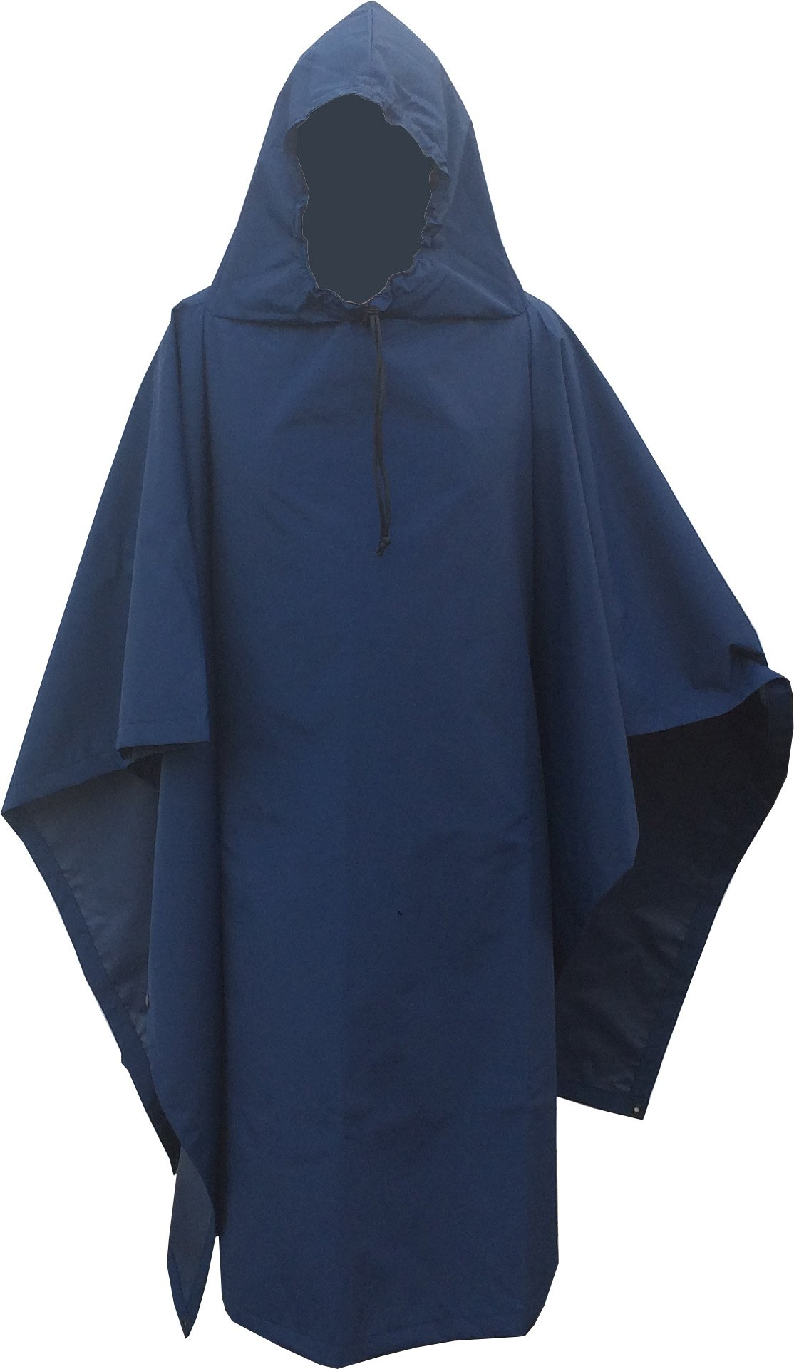 Waterproof 200D Hooded Nylon Poncho size: 55 x 90'' Made in U.S.A. (Navy)