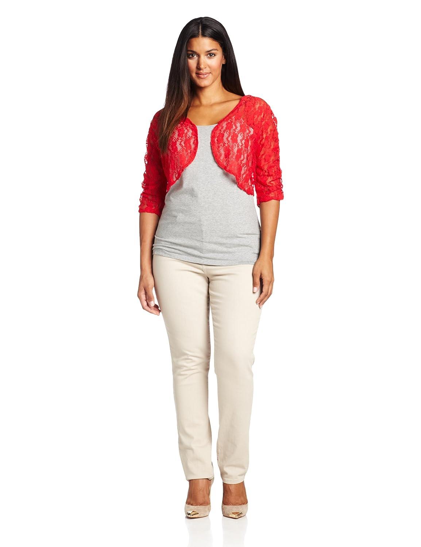 Star Vixen Womens Plus-Size Rouched Sleeve Bolero Sweater