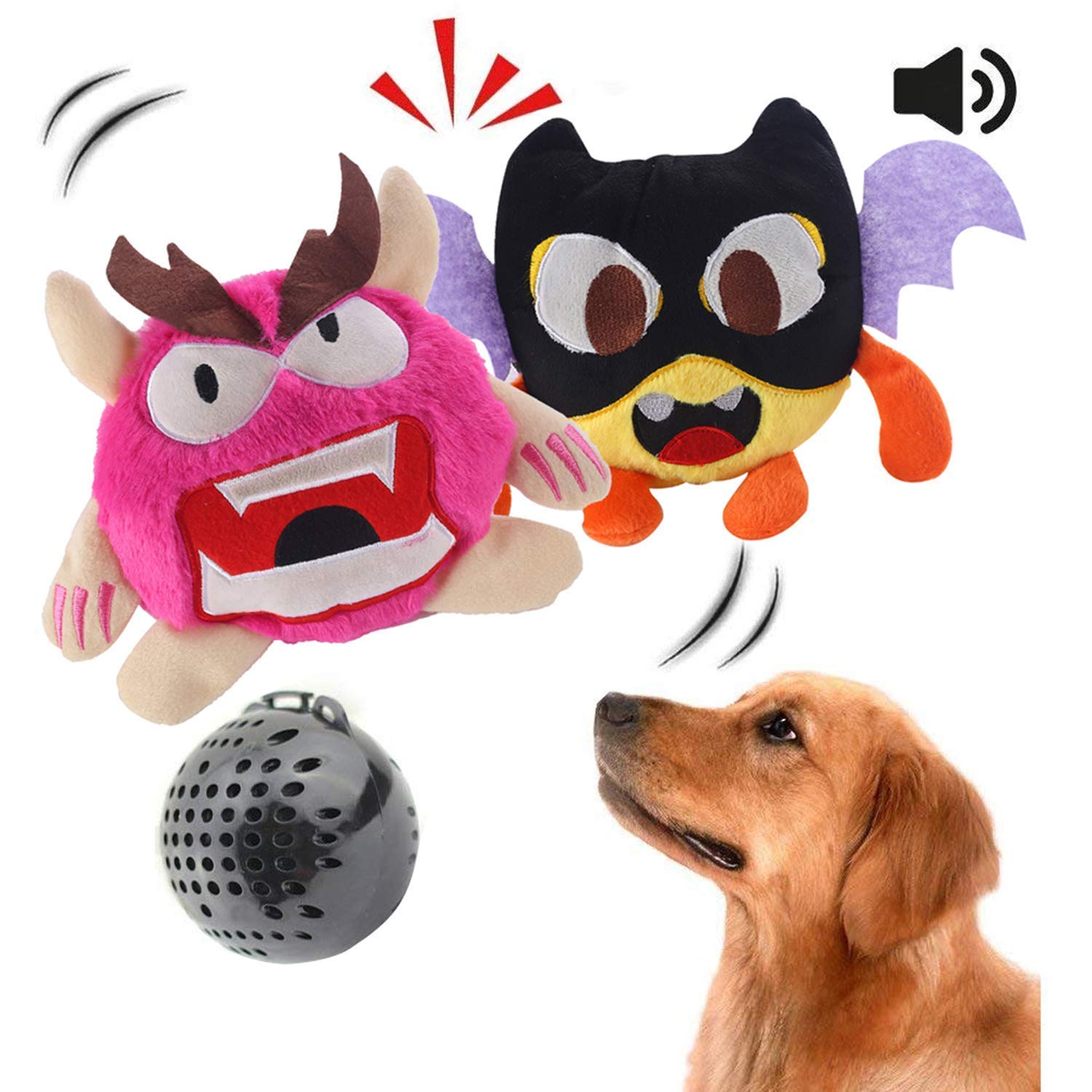 NEILDEN Interactive Dog Toys, Giggle Plush Dog Toy, Crazy Shake Bounce Boredom Toys for Small to Medium Dogs to Exercise Entertain Boredom Training for Dogs (Two Plush Toys+Squea by NEILDEN