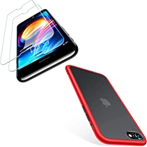 TORRAS Shockproof Designed for iPhone SE 2020 Case Red & iPhone SE 2020 Screen Protector