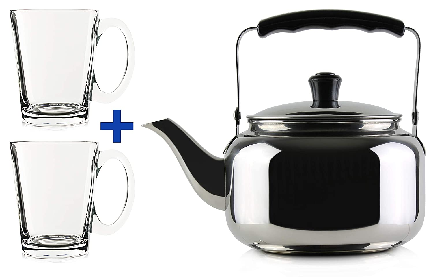20 oz Stainless Steel Classic Tea Kettle w Two 8 oz Clear Glass Tea Cups