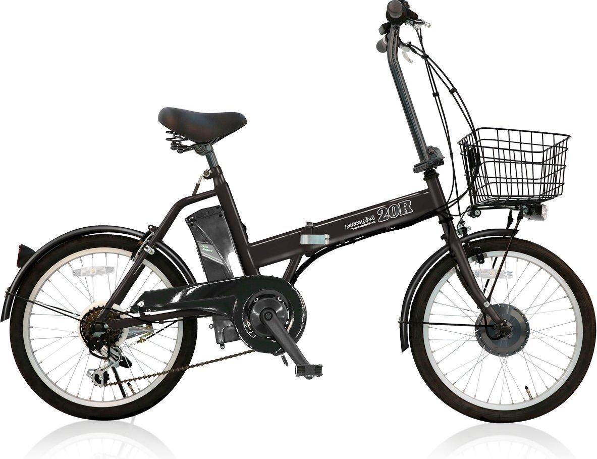 AIJYU CYCLE 折りたたみ電動アシスト自転車 パスピエ20R シマノ6段ギア 20インチ 5Ahリチウムイオンバッテリー 型式認定車両(TSマーク) B0773FZBYZ 黒 黒