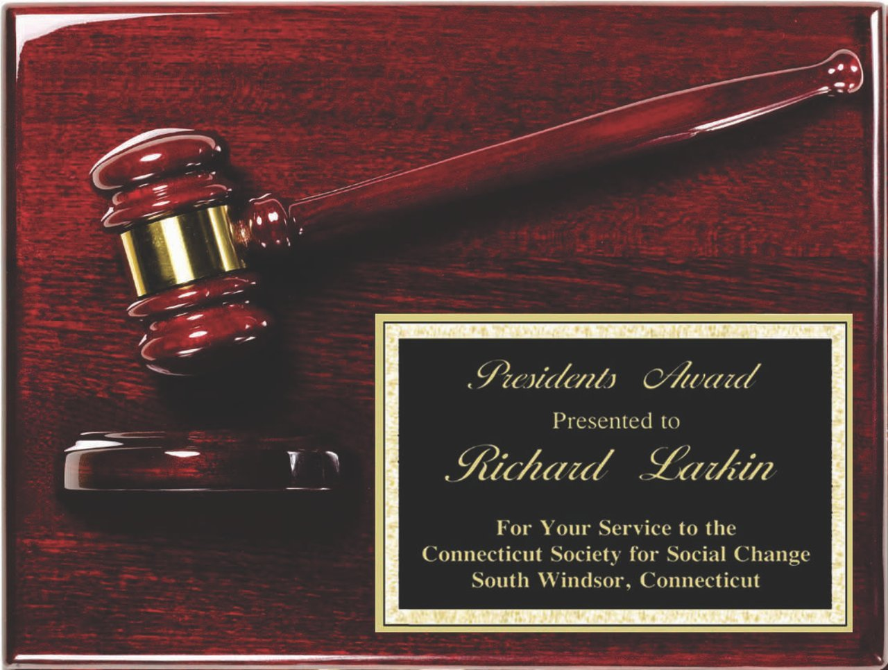 Woltman - Rosewood Piano Finish Gavel Plaque