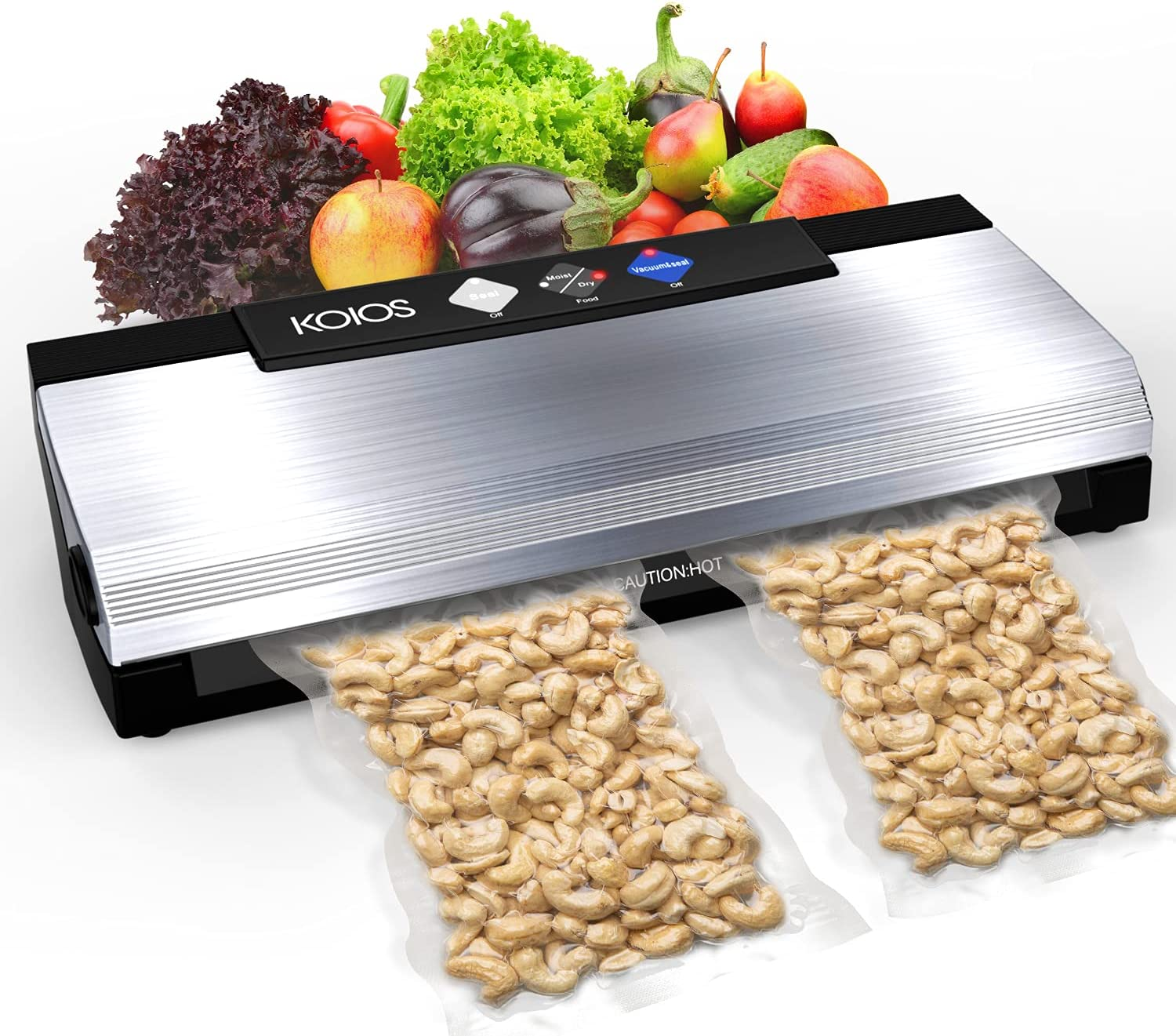KOIOS Vacuum Sealer Machine, 85kPa Automatic Food Sealer for Food Savers with Starter Kits, Dry & Moist Food Modes, Easy to Clean, Compact Design and Built-in Cutter