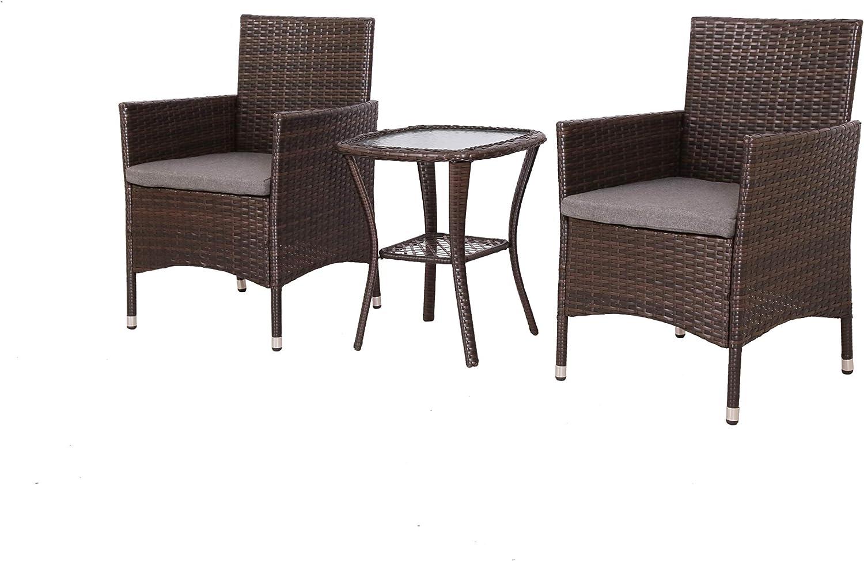 Baner Garden Q16-BR-NEW Outdoor Complete Cushion PE Wicker Rattan Garden Dining Curved Coffee Table 3 Piece Patio Furniture Set, Dark Brown