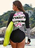 Aleumdr Women's Fashion Printing Rashguard Long