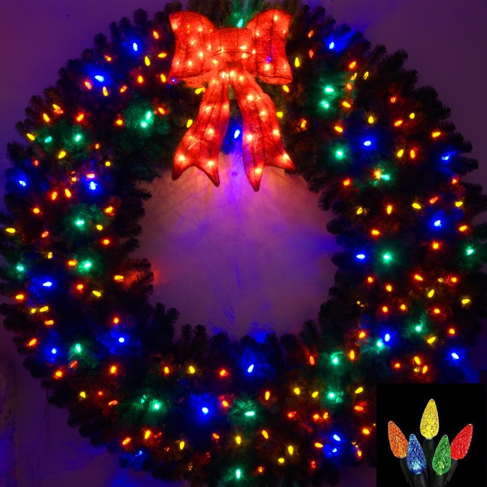 6 Foot Multi-Color L.E.D. Christmas Wreath