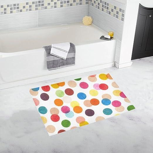 Bathroom Shower Bathmat Multi Coloured Polka Dots Anti-slip