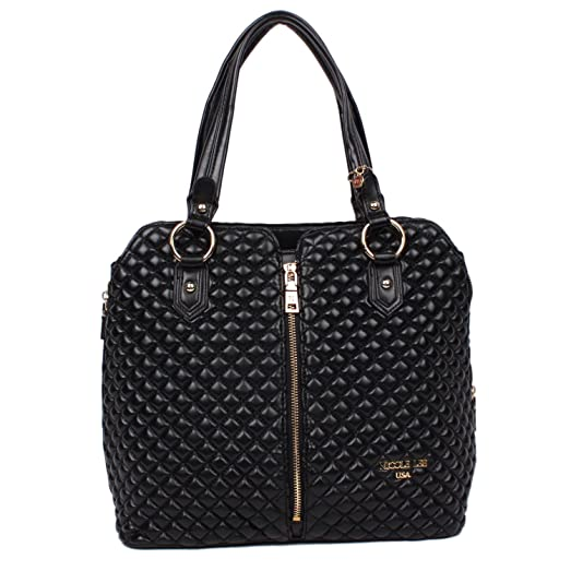 Amazon Nicole Lee Lara Quilted Tote Bag Black Shoes