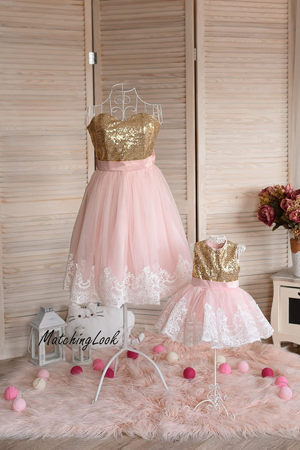 Mother daughter matching dress, Pink and Gold sequin dress, Mommy and Me outfit, Mommy and Me dress, tutu dress, 1st birthday baby girl