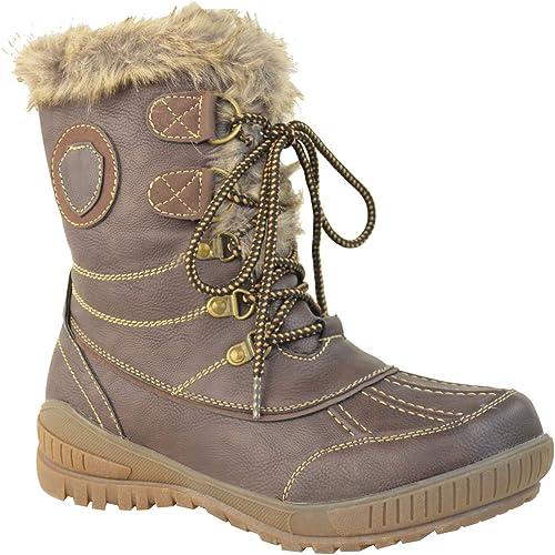 Womens Ladies Flat Winter Faux Fur Ankle Walk Boots Grip Warm Fleece Size UK