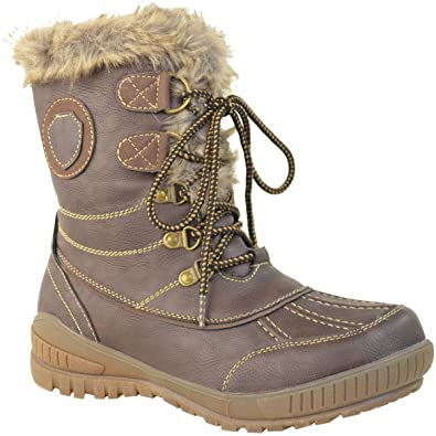 LADIES WOMENS FLAT WARM FUR LINED GRIP SOLE WINTER SNOW ANKLE BOOTS SHOES  SIZE (UK