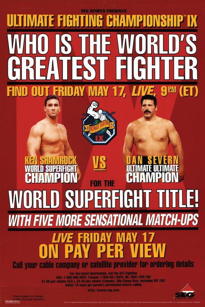 Pyramid America Official UFC 9 Ken Shamrock vs Dan Severn Sports Cool Wall Decor Art Print Poster 12x18