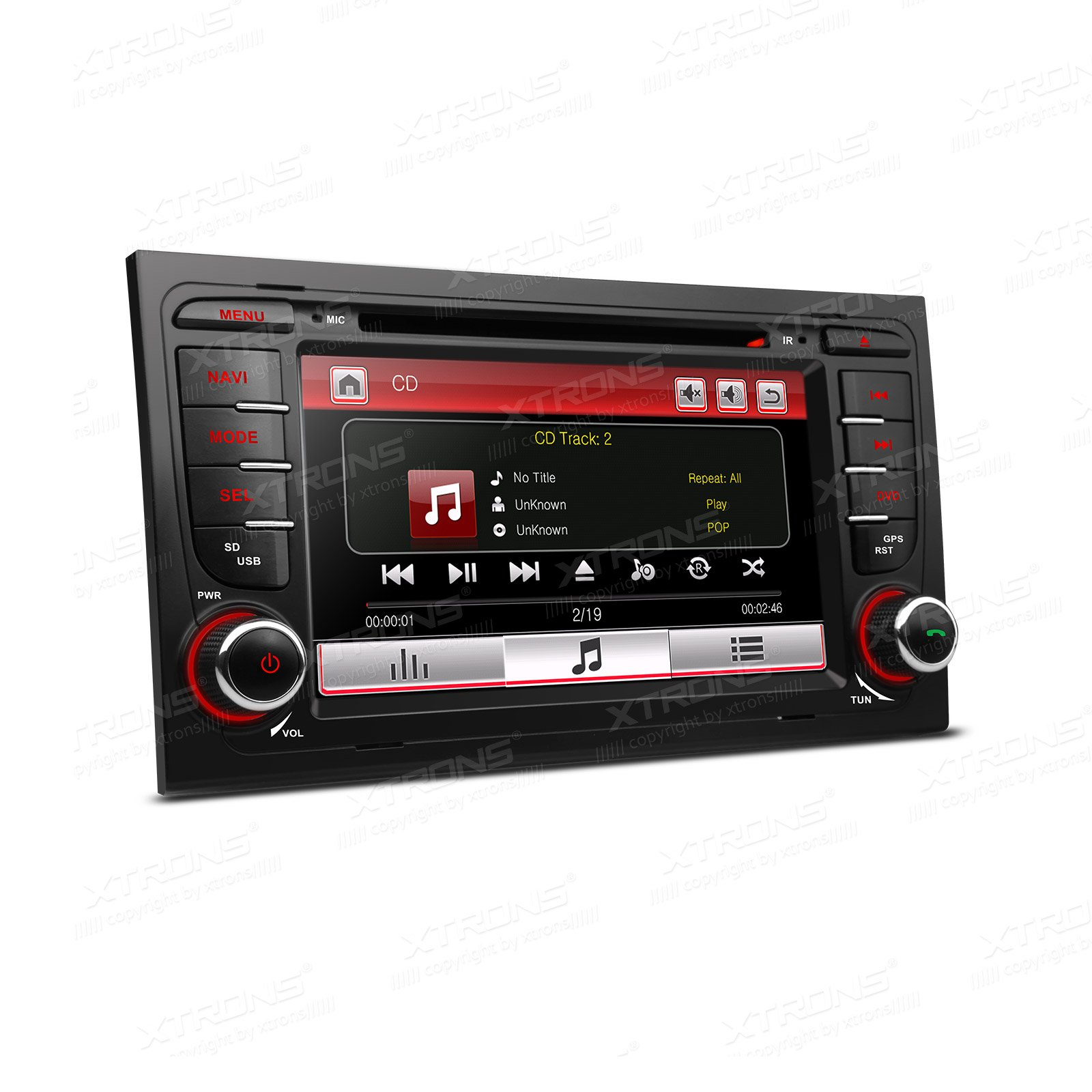 XTRONS 7 Inch HD Digital Touch Screen Car Stereo In-Dash DVD Player with GPS Navigation Dual Channel CANbus Screen Mirroring Function for Audi A4 S4 RS4 Kudos Map Card Included by XTRONS