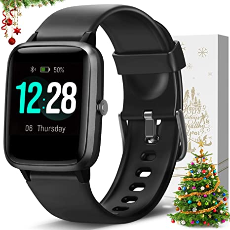 LETSCOM Smart Watch Fitness Tracker Heart Rate Monitor Step Calorie Counter Sleep Monitor Music Control IP68 1.3