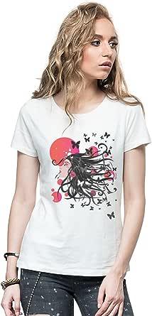 Threadcurry White Round Neck T-Shirt For Women