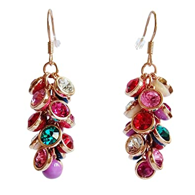 78861f304 Crystal Dangle Earrings For Women Girls Ladies Colorful Fancy Crystal  Earrings With Gold Plated Girls Long