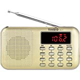 Tivdio PR-11 Radio Portátil Digital AM / FM 2 Bandas Receptor,Buscar y Almacenar Automáticamente con MP3 Reproductor de Música y Linterna de Emergencia (Champagne Oro)