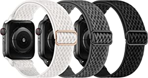 KADES Stretchy Solo Loop Strap Compatible with Apple Watch Bands 38mm 40mm, Adjustable Braided Sport Elastics Nylon Wristband Compatible with iWatch Series 6/5/4/3/2/1 SE (Black+White+Gray)