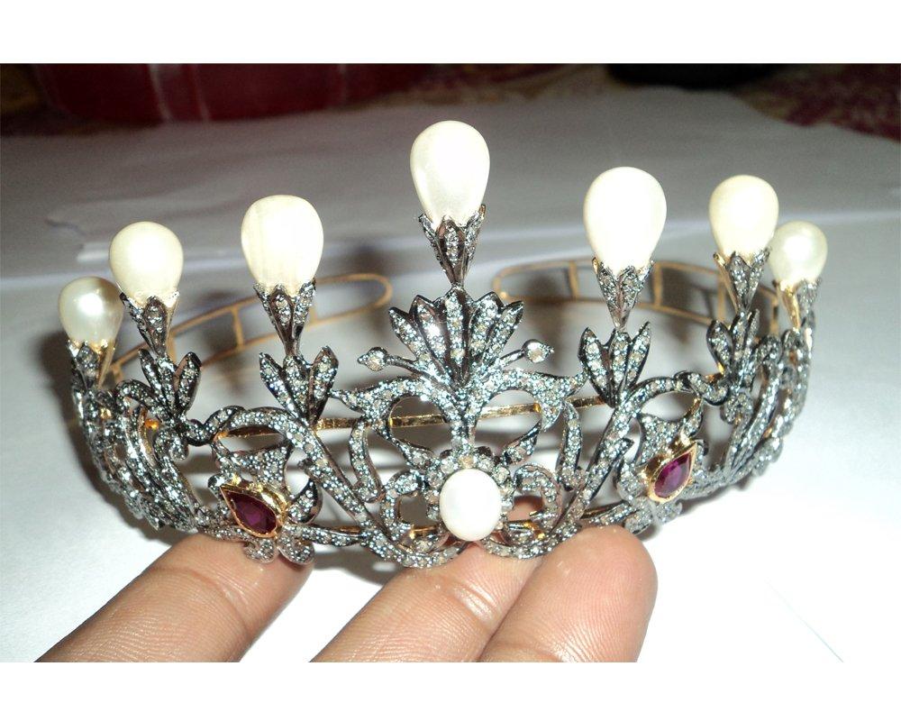 Pave Designer Rose Cut Diamond Tiara - Wedding Rose Cut Diamond Crown - 925 Sterling Silver Tiara Crown - Diamond 925 Silver Tiara - Handmade Tiara - Hair Jewelry
