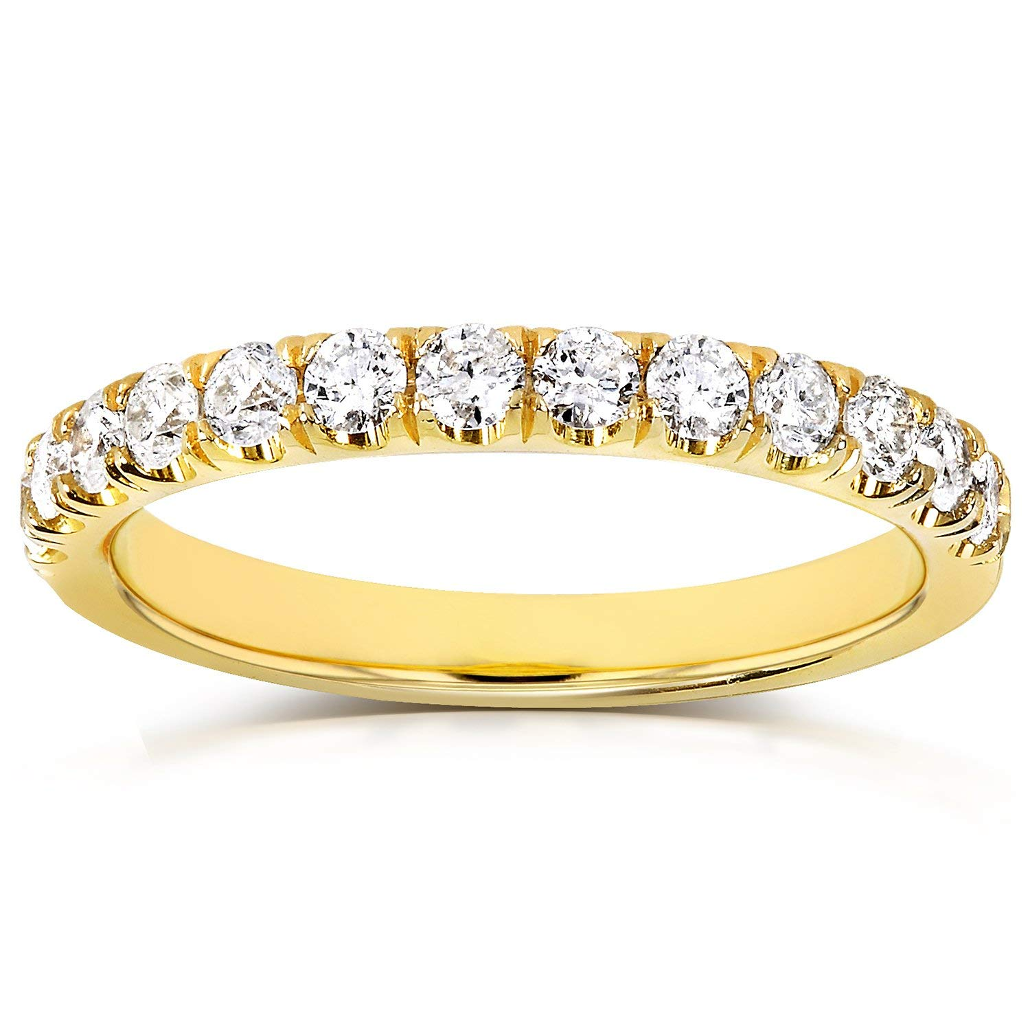 Flame French Pave Lab Grown Diamond Comfort Fit Womens Wedding Band 1/2 CTW 14k Yellow Gold (DEF/VS), 10.5 by Kobelli