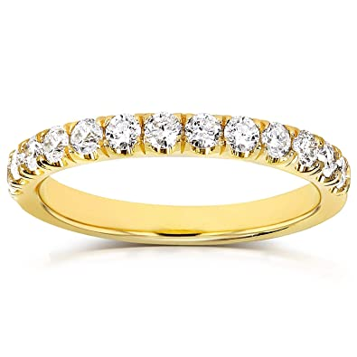 4616ae83ac2d3 Flame French Pave Lab Grown Diamond Comfort Fit Womens Wedding Band 1/2 CTW  14k Yellow Gold (DEF/VS)