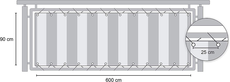 Length: 600 cm hoch Height: 75 cm L/änge: 6 Meter Angerer Balcony Covering Orange