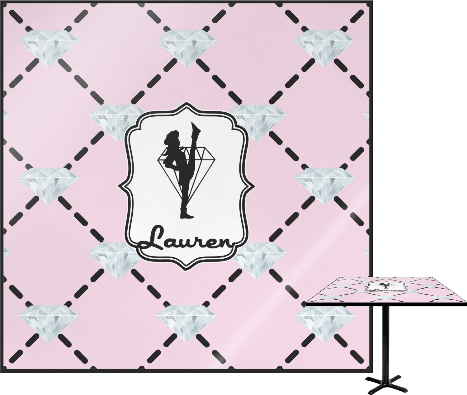 Diamond Dancers Square Table Top - 30'' (Personalized)