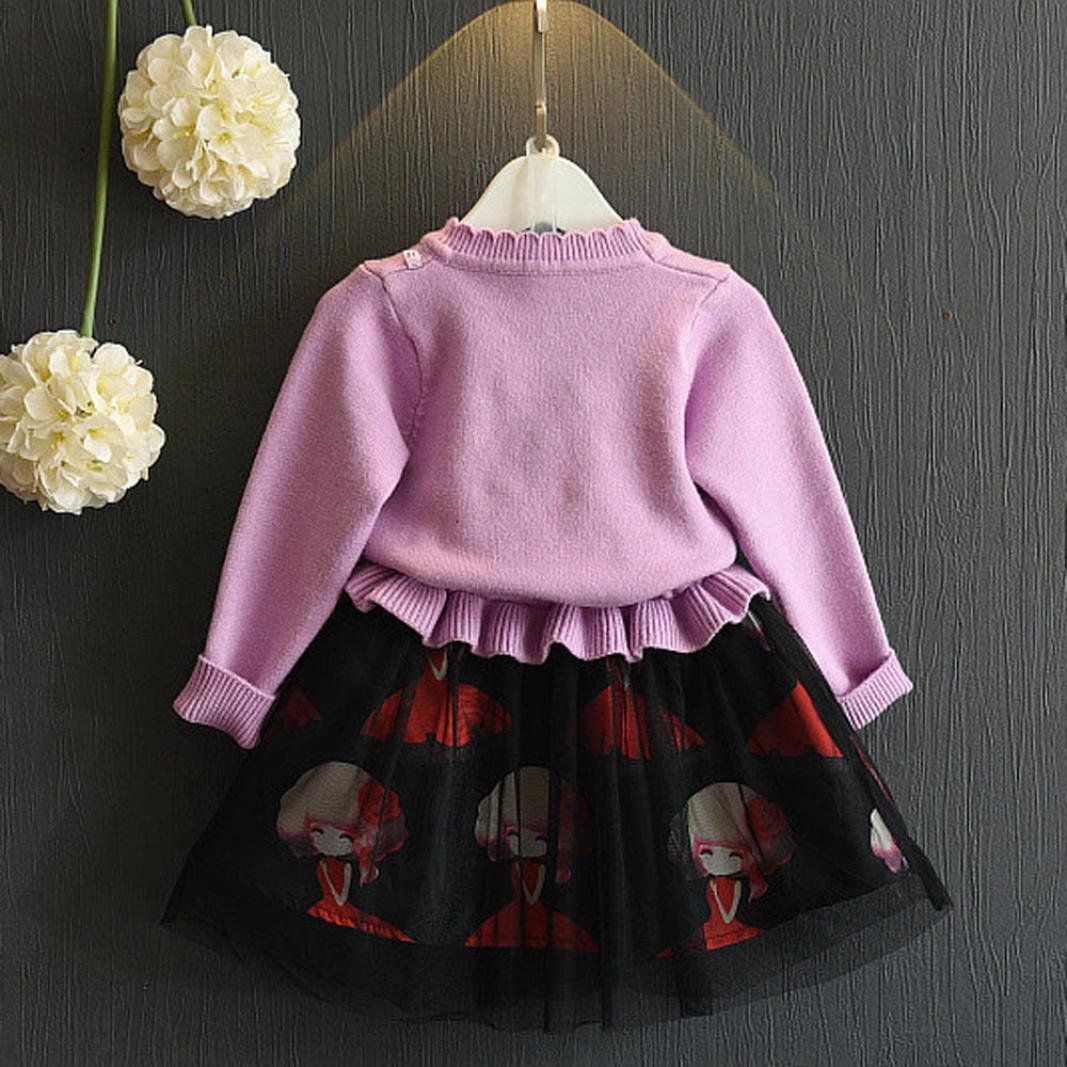 Pine Song Baby Girls Maglione Set invernale per bambini Rock