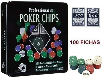 HXC Juego de Poker 100 fichas numeradas con Caja + 2 Juego de ...
