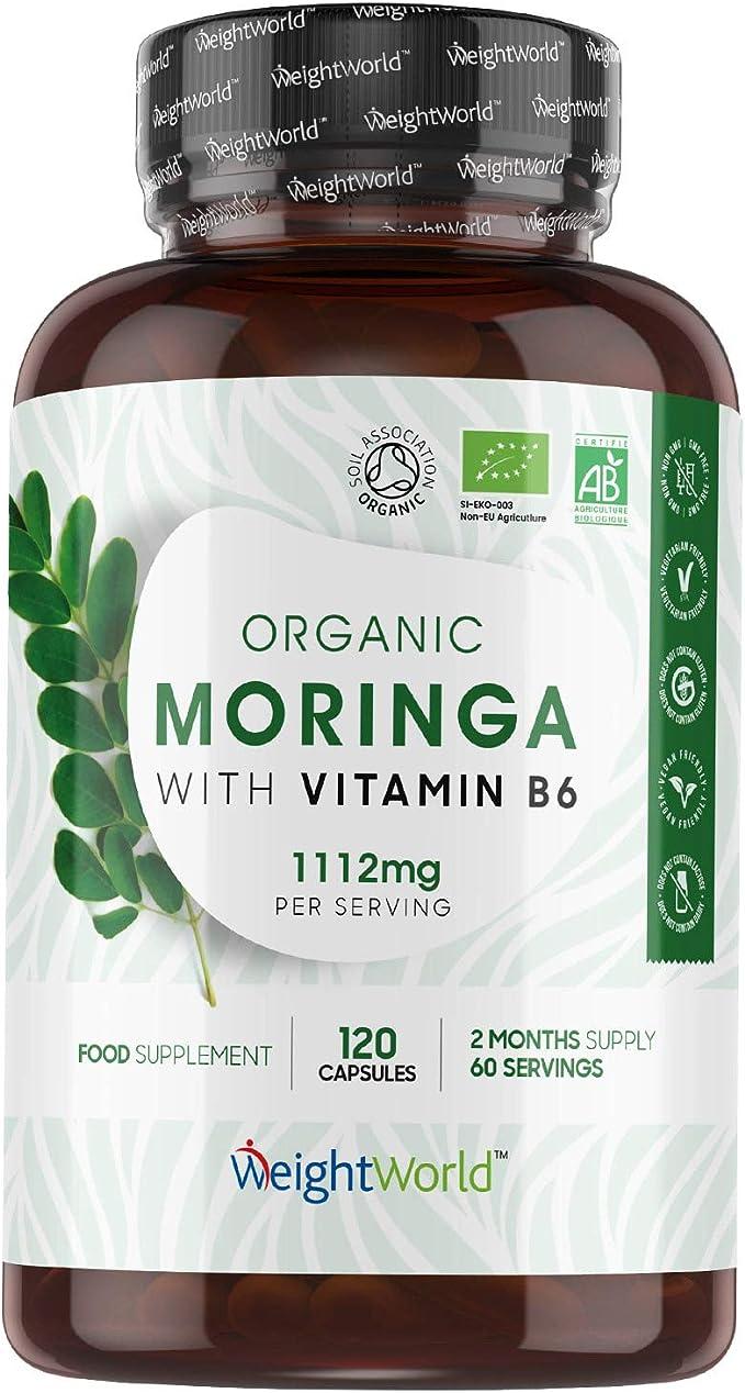 Bio Moringa Oleifera Orgánica Pura Alta Dosis 1112 mg 120 Cápsulas - Fuente de Vitaminas, Minerales y Antioxidantes, Moringa Cápsulas Pura Enriquecida ...