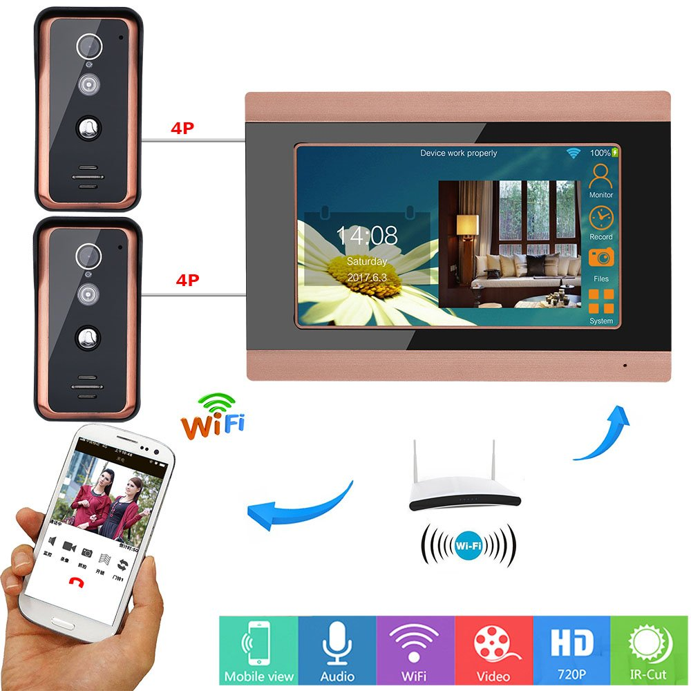 ENNIO 7inch Wired WiFi Video Door Phone Doorbell Intercom Entry System with 2 X 1000TVL Wired IR-Cut Camera Night Vision, Support Remote APP intercom, Unlocking, Recording, Snapshot ESY709GFKA21